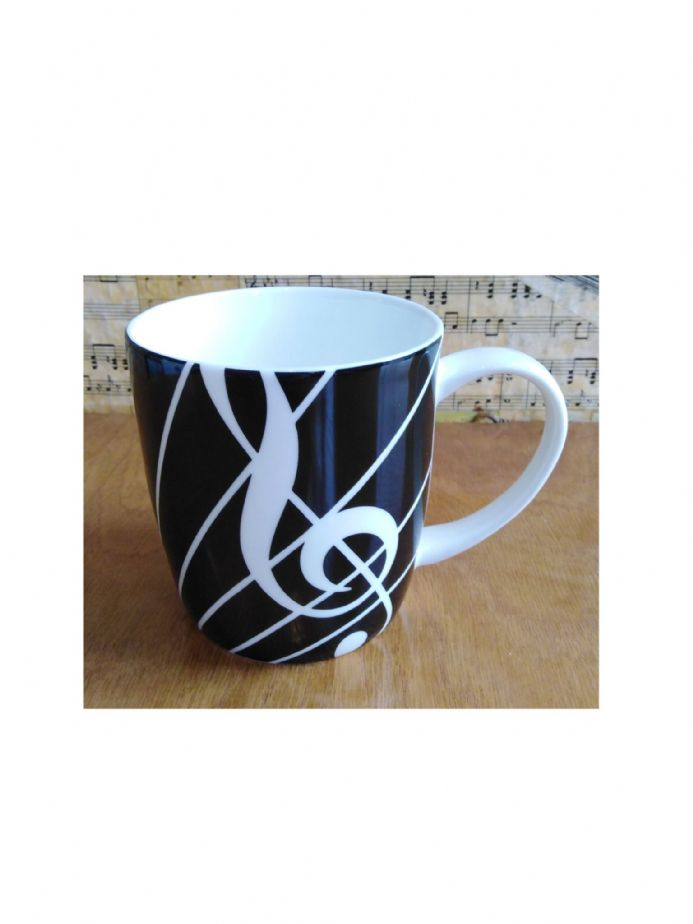Musical Keyboard Theme Earthenware Mug available at Shop 4 Music Boxes, The Music Box Shop, Bristol.